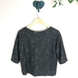 Fossil Sweaters - Fossil Gray Lace Silk Lined Cardigan Shrug
